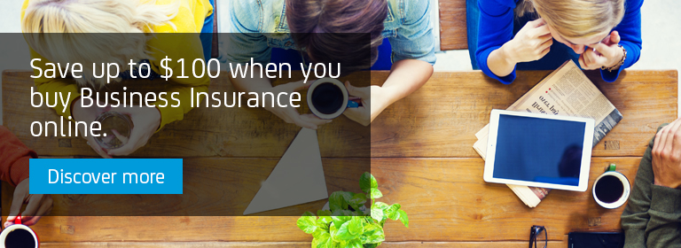 Save up to $100 when you buy Business Insurance online.