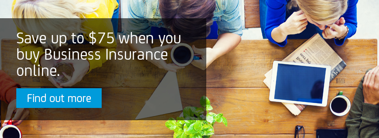 Save up to $75 when you buy Business Insurance online.